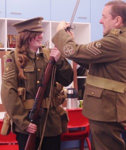 Charlotte Evans dressed as a WW1 soldier.