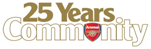 Arsenal 25 years in the community logo.