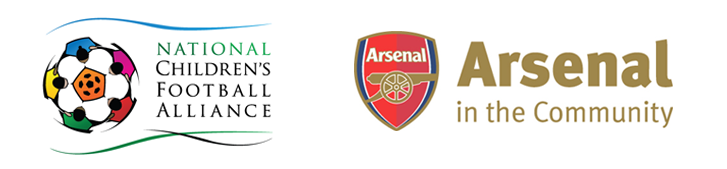 Arsenal in the Community logo and National Children's Football Alliance logo.