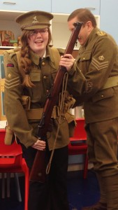 Charlotte Evans preparing to become a WW1 soldier.